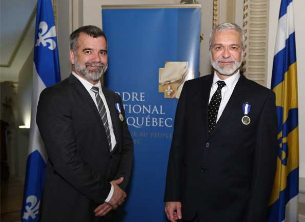 Michel Lemieux and Victor, decorated Knights of The National Order of Quebec